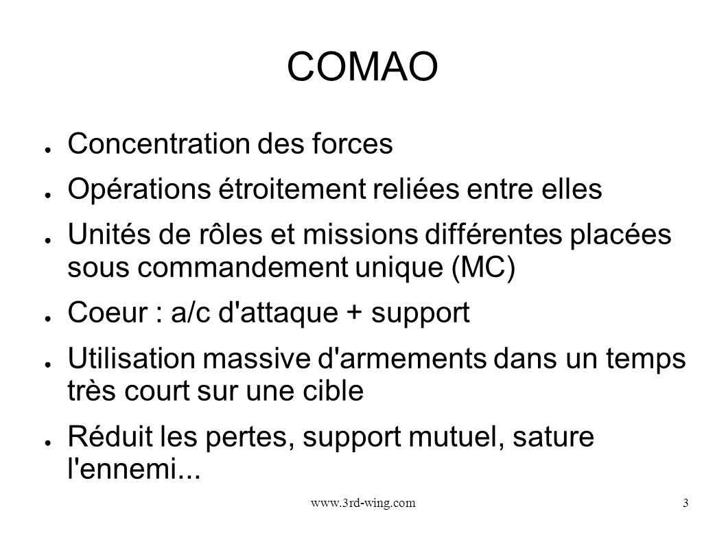 COMAO Concentration des forces