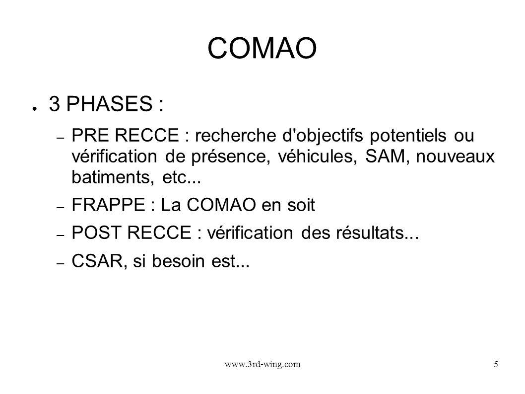 COMAO 3 PHASES : PRE RECCE : recherche d objectifs potentiels ou vérification de présence, véhicules, SAM, nouveaux batiments, etc...