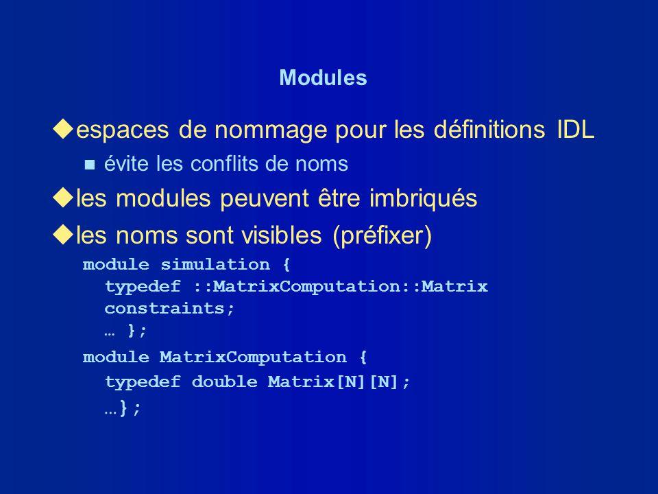 espaces de nommage pour les définitions IDL