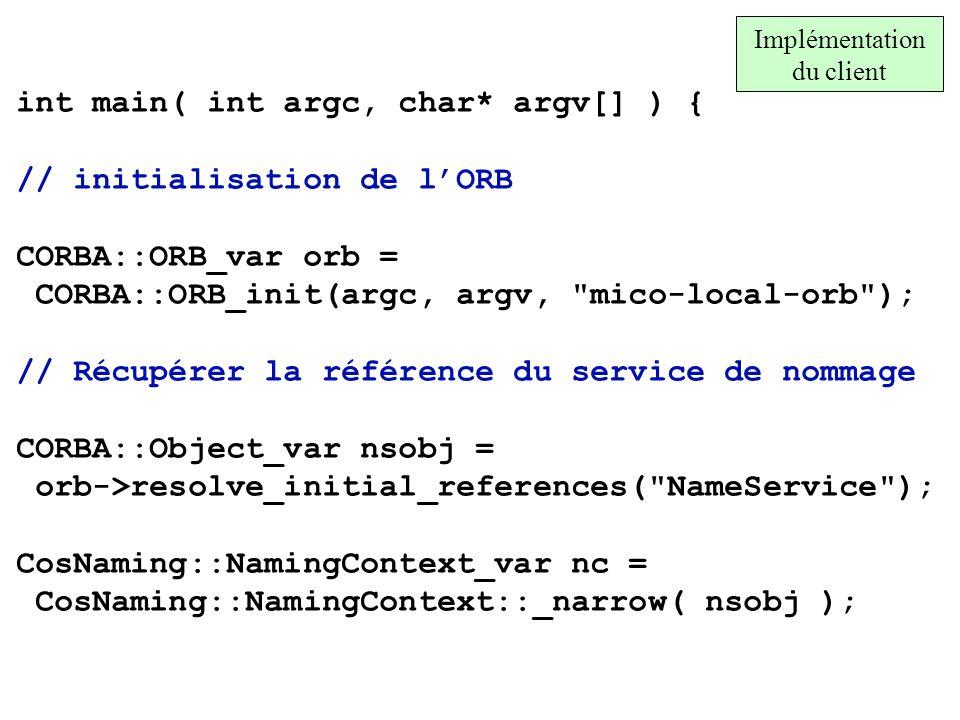 Implémentation du client