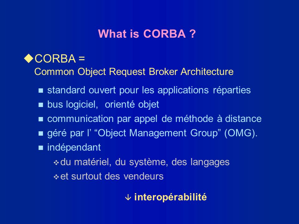 CORBA = Common Object Request Broker Architecture