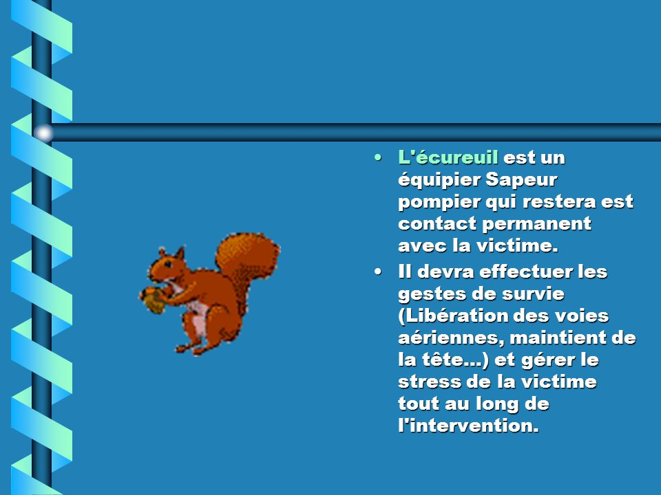 L écureuil est un équipier Sapeur pompier qui restera est contact permanent avec la victime.