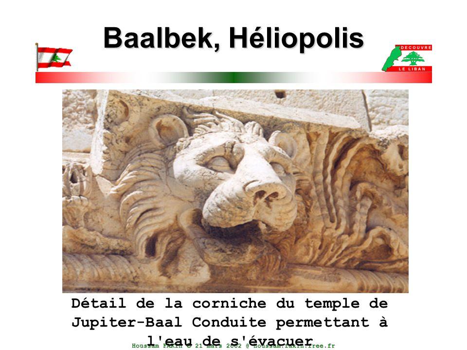 Baalbek, Héliopolis Détail de la corniche du temple de Jupiter-Baal Conduite permettant à l eau de s évacuer.