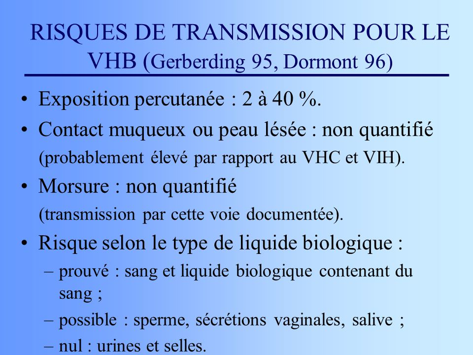 RISQUES DE TRANSMISSION POUR LE VHB (Gerberding 95, Dormont 96)