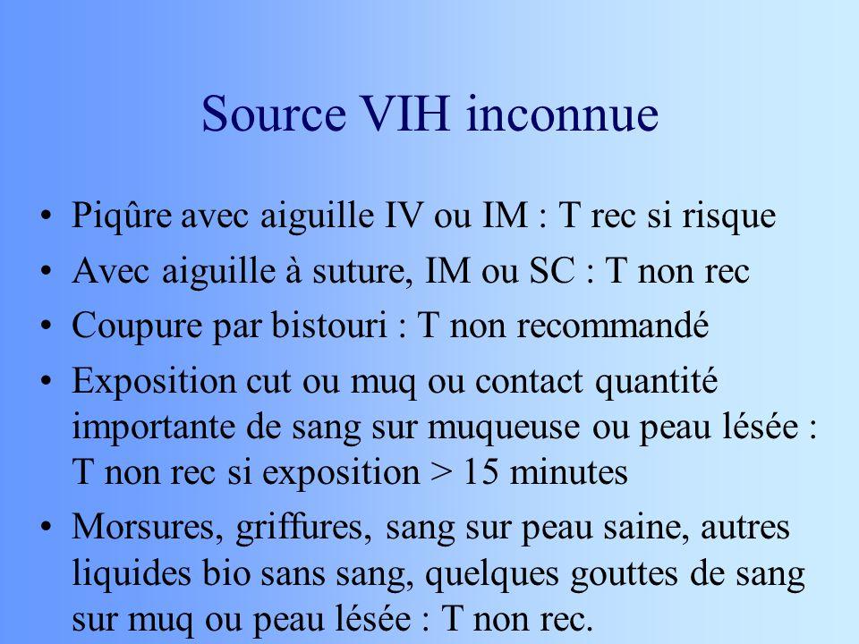 Source VIH inconnue Piqûre avec aiguille IV ou IM : T rec si risque