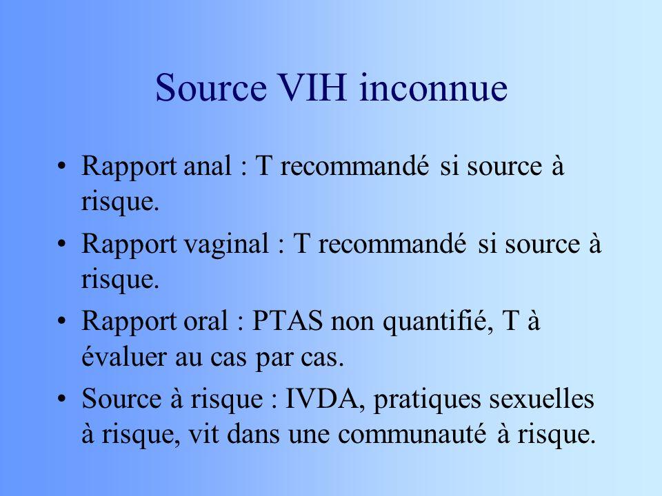Source VIH inconnue Rapport anal : T recommandé si source à risque.