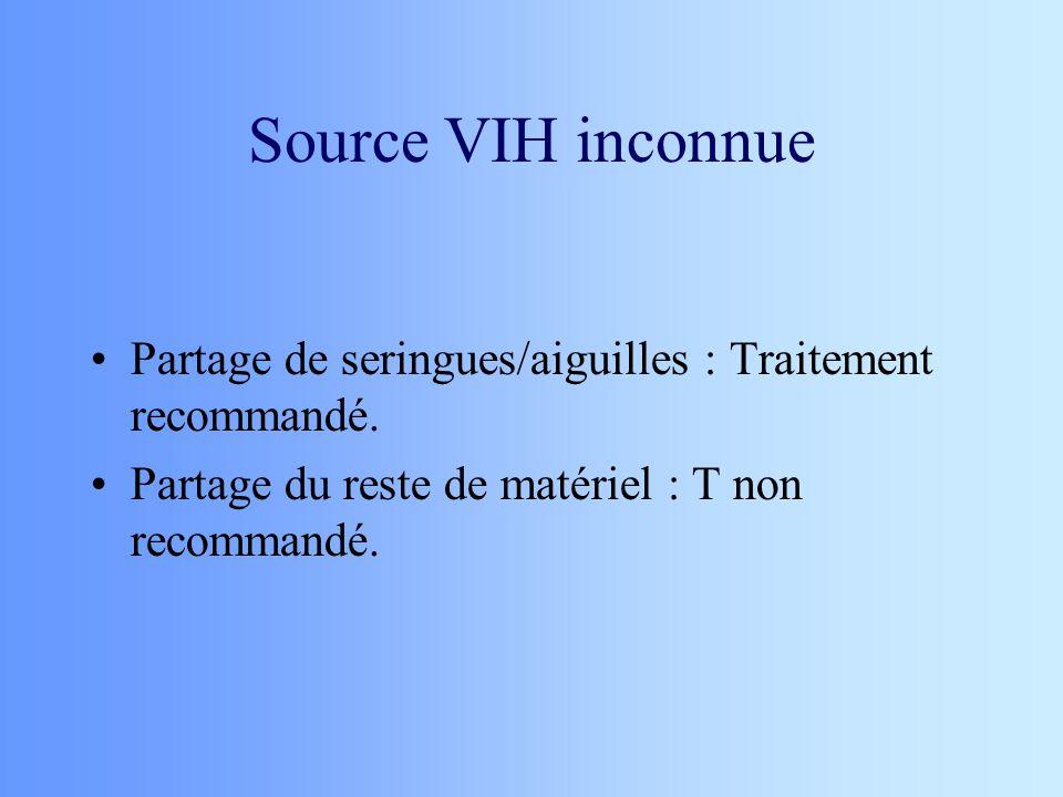 Source VIH inconnue Partage de seringues/aiguilles : Traitement recommandé.