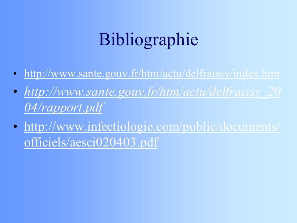 Bibliographie http://www.sante.gouv.fr/htm/actu/delfraissy/index.htm. http://www.sante.gouv.fr/htm/actu/delfraissy_2004/rapport.pdf.