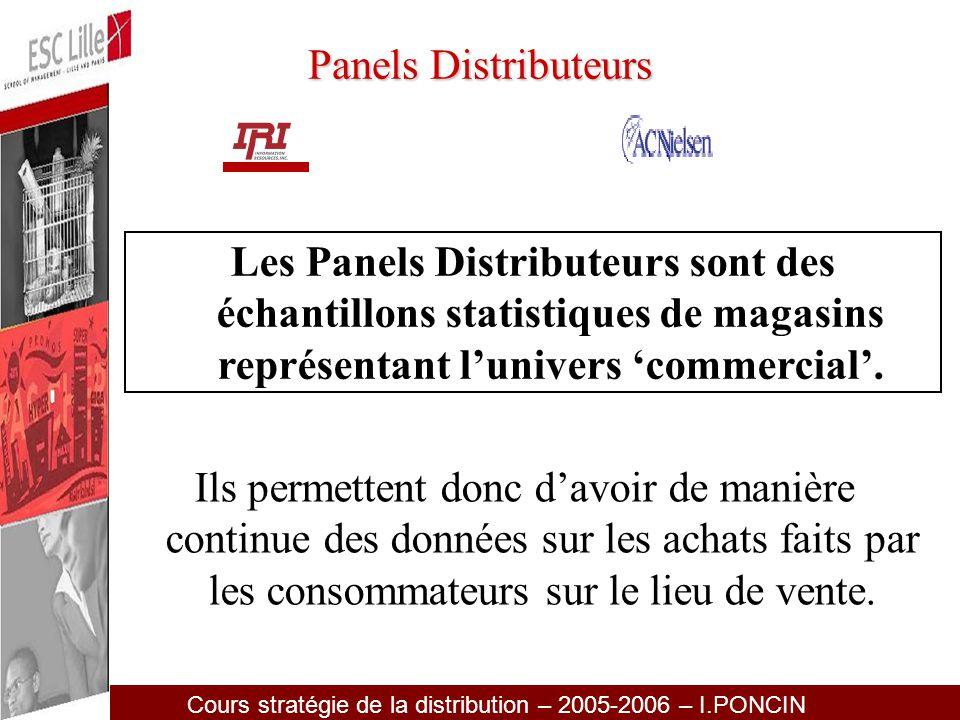 Panels Distributeurs Les Panels Distributeurs sont des échantillons statistiques de magasins représentant l'univers 'commercial'.