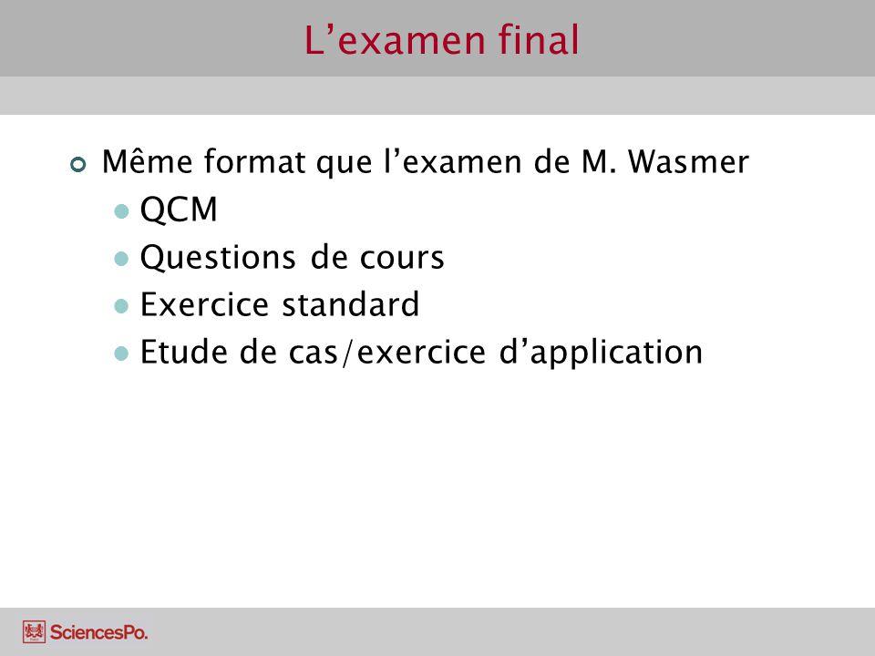 L'examen final QCM Questions de cours Exercice standard