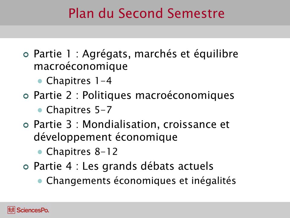 Plan du Second Semestre