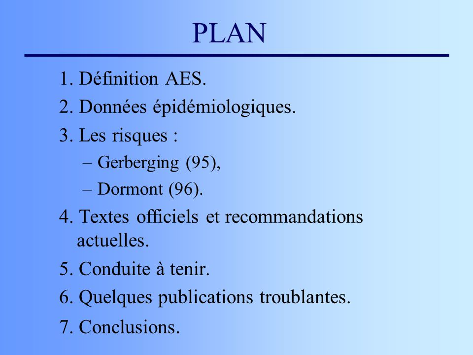 PLAN 1. Définition AES. 2. Données épidémiologiques. 3. Les risques :