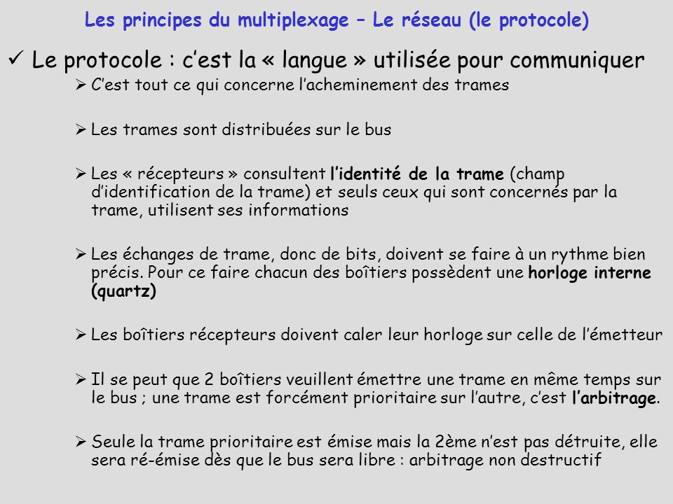 Les principes du multiplexage – Le réseau (le protocole)