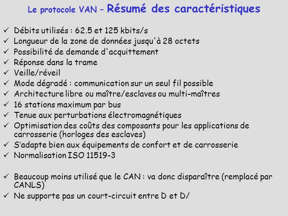 Le protocole VAN – Résumé des caractéristiques