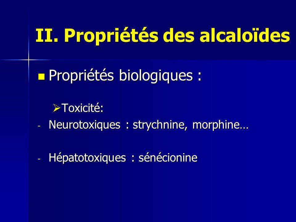 II. Propriétés des alcaloïdes
