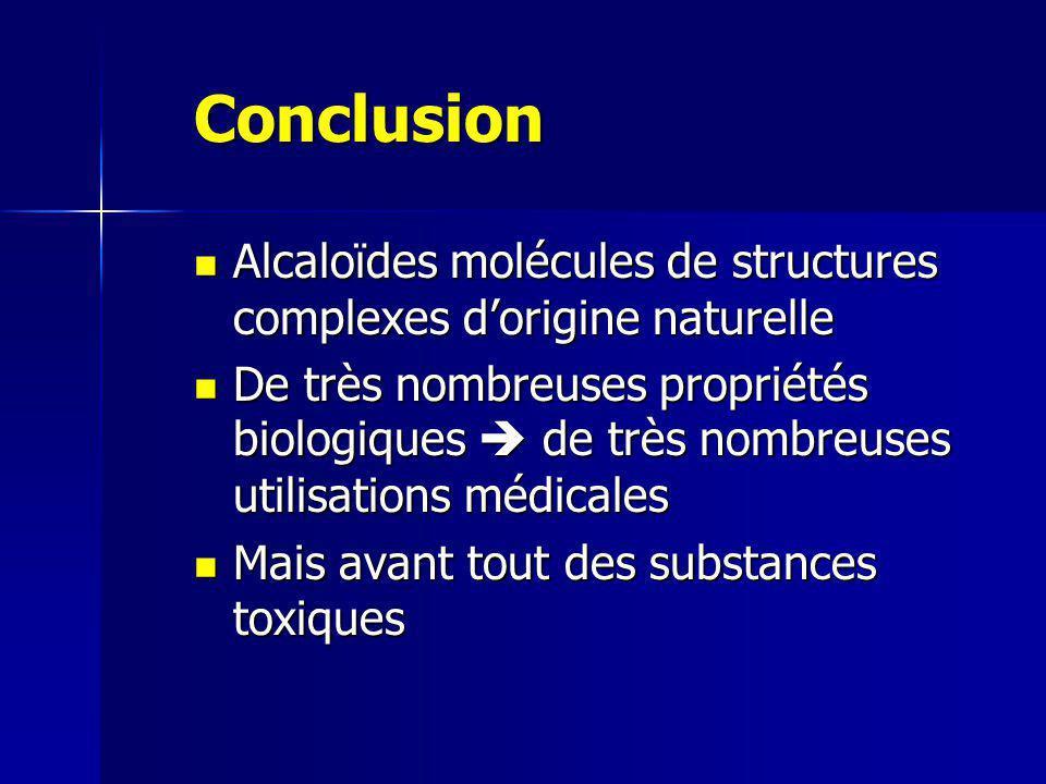 Conclusion Alcaloïdes molécules de structures complexes d'origine naturelle.