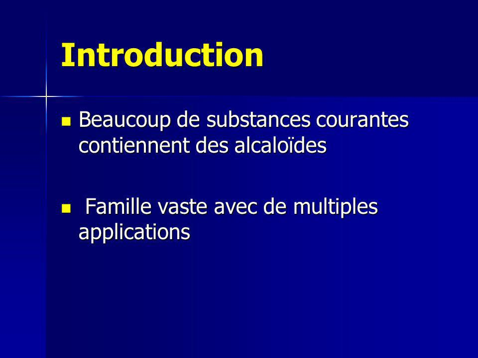 Introduction Beaucoup de substances courantes contiennent des alcaloïdes. Famille vaste avec de multiples applications.