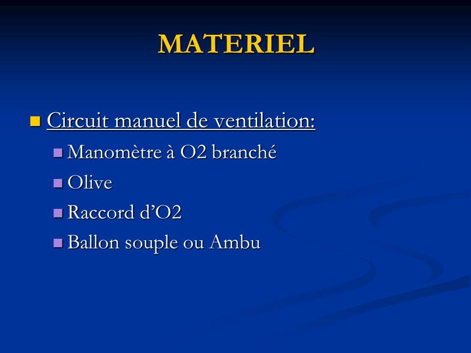 MATERIEL Circuit manuel de ventilation: Manomètre à O2 branché Olive