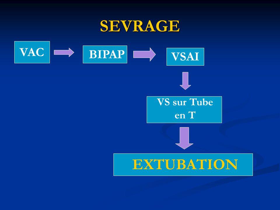 SEVRAGE VAC BIPAP VSAI VS sur Tube en T EXTUBATION