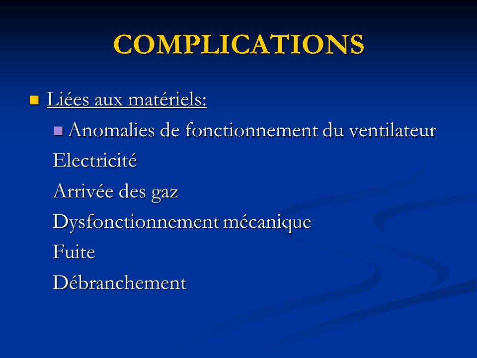 COMPLICATIONS Liées aux matériels: