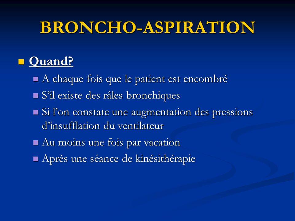 BRONCHO-ASPIRATION Quand A chaque fois que le patient est encombré