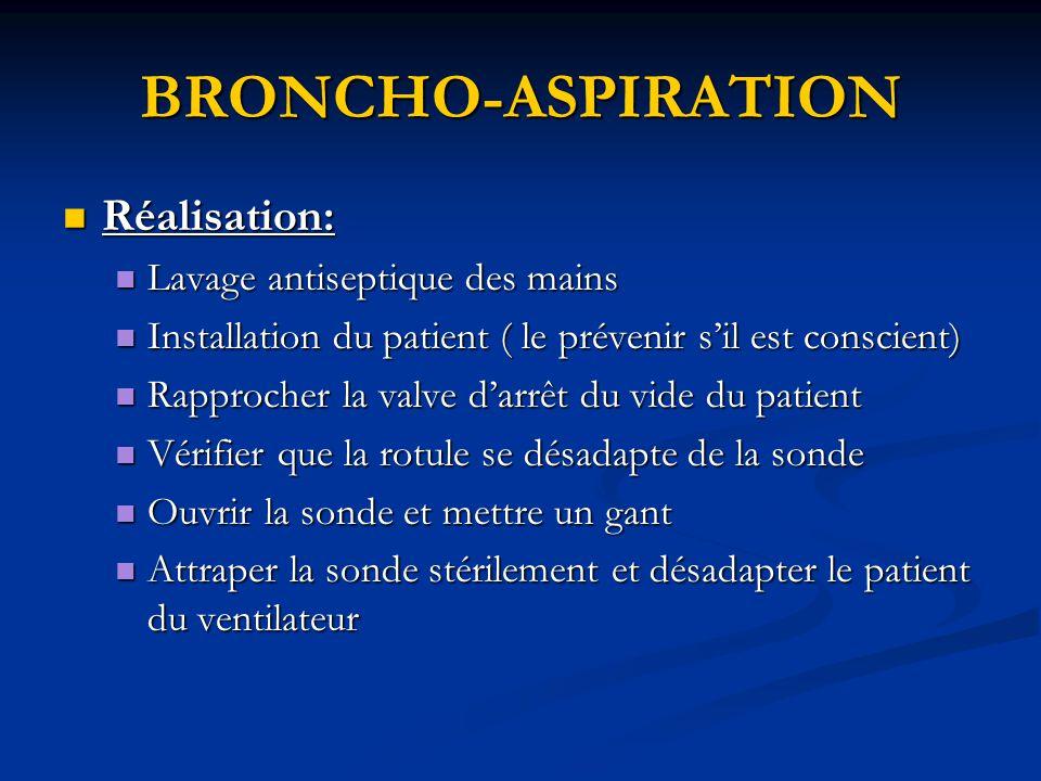BRONCHO-ASPIRATION Réalisation: Lavage antiseptique des mains
