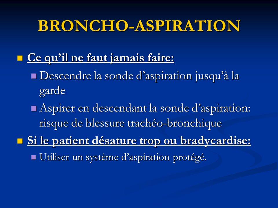 BRONCHO-ASPIRATION Ce qu'il ne faut jamais faire:
