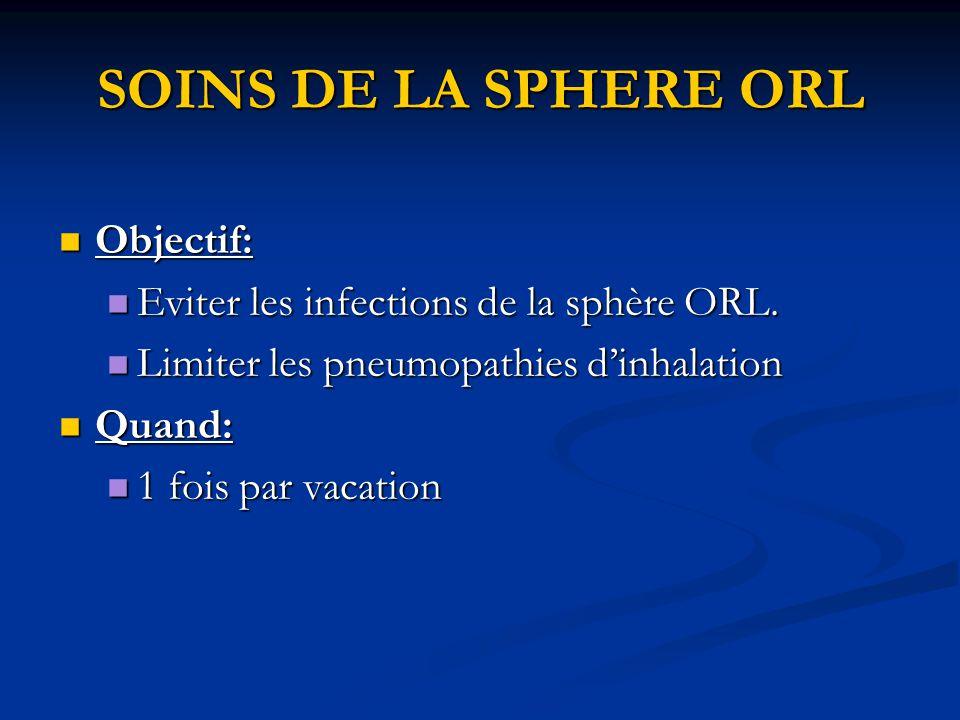 SOINS DE LA SPHERE ORL Objectif: