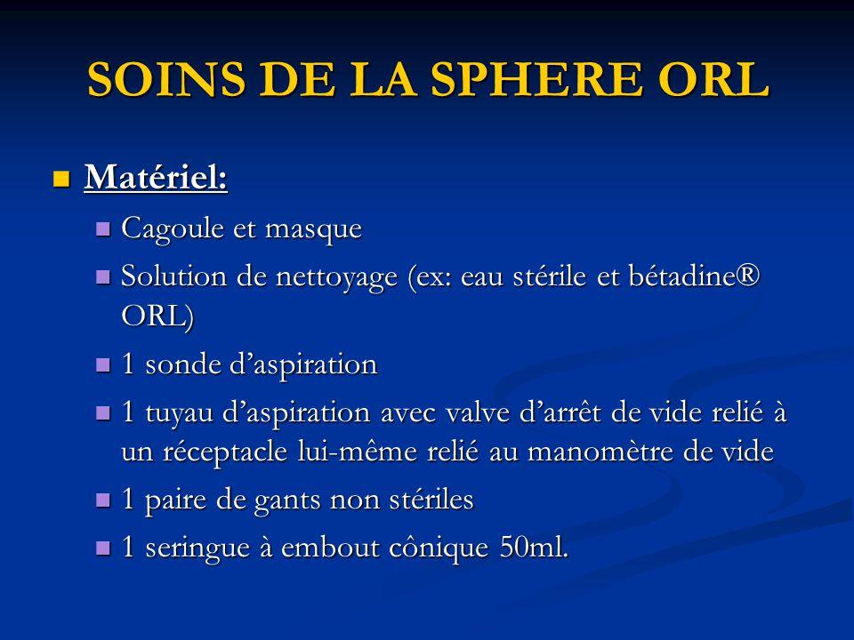 SOINS DE LA SPHERE ORL Matériel: Cagoule et masque