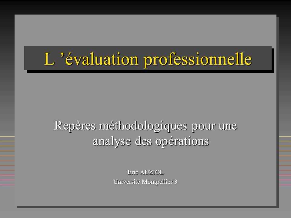 L 'évaluation professionnelle