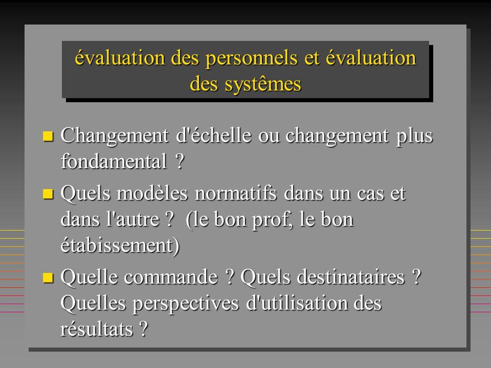 évaluation des personnels et évaluation des systêmes