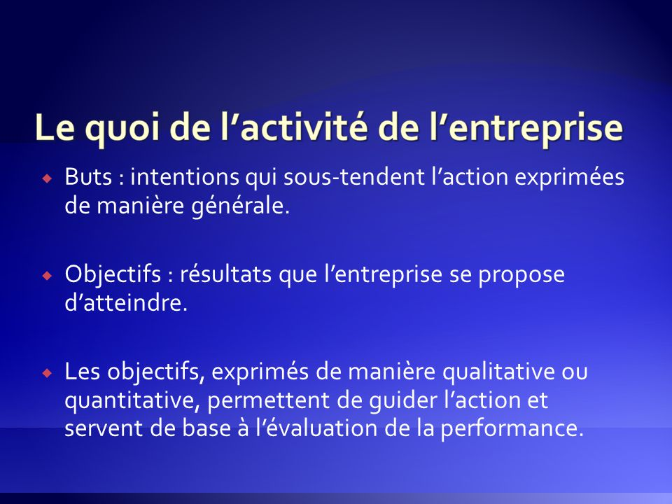 Buts : intentions qui sous-tendent l'action exprimées de manière générale.