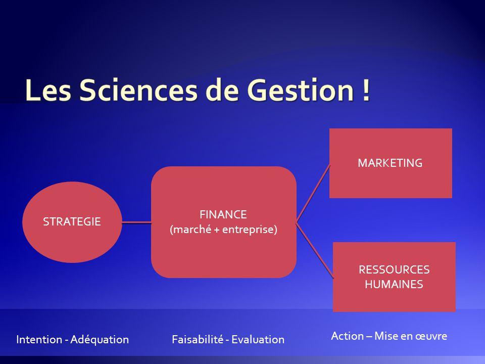 MARKETING FINANCE. (marché + entreprise) STRATEGIE. RESSOURCES HUMAINES. Action – Mise en œuvre.