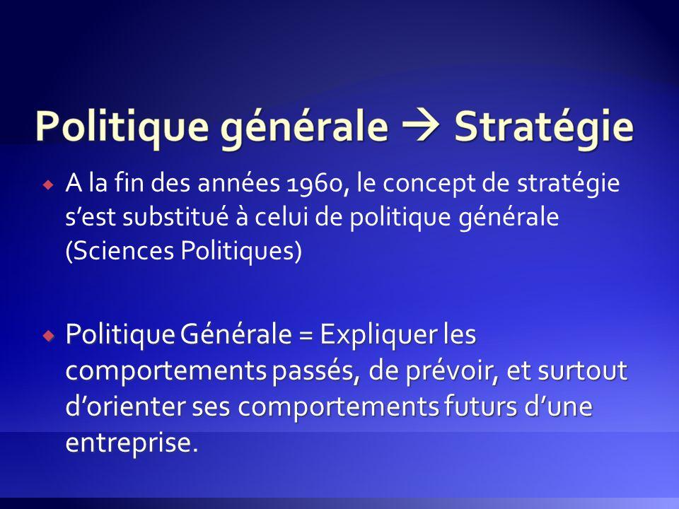 A la fin des années 1960, le concept de stratégie s'est substitué à celui de politique générale (Sciences Politiques)