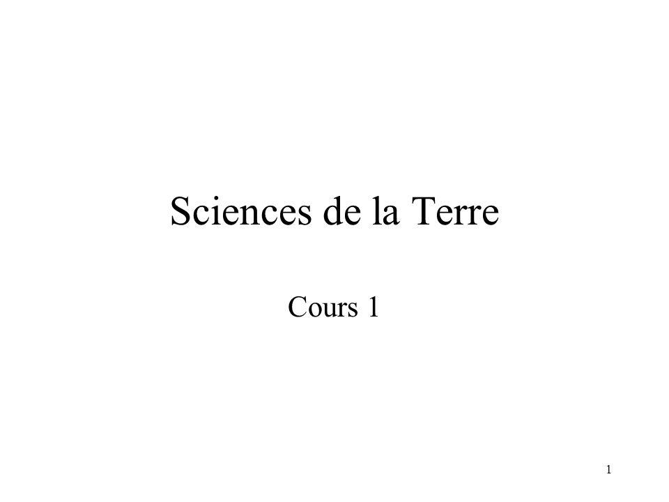 Sciences de la Terre Cours 1 20h de cours, 3 intervenants