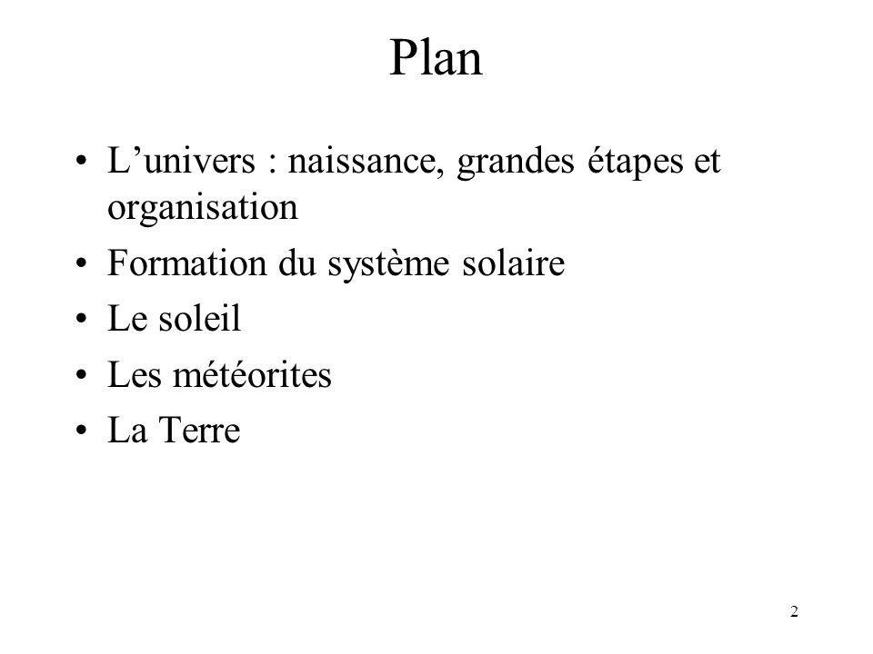 Plan L'univers : naissance, grandes étapes et organisation