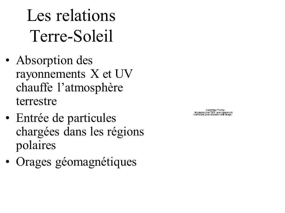 Les relations Terre-Soleil