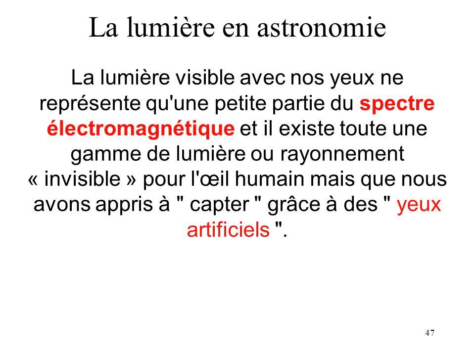 La lumière en astronomie