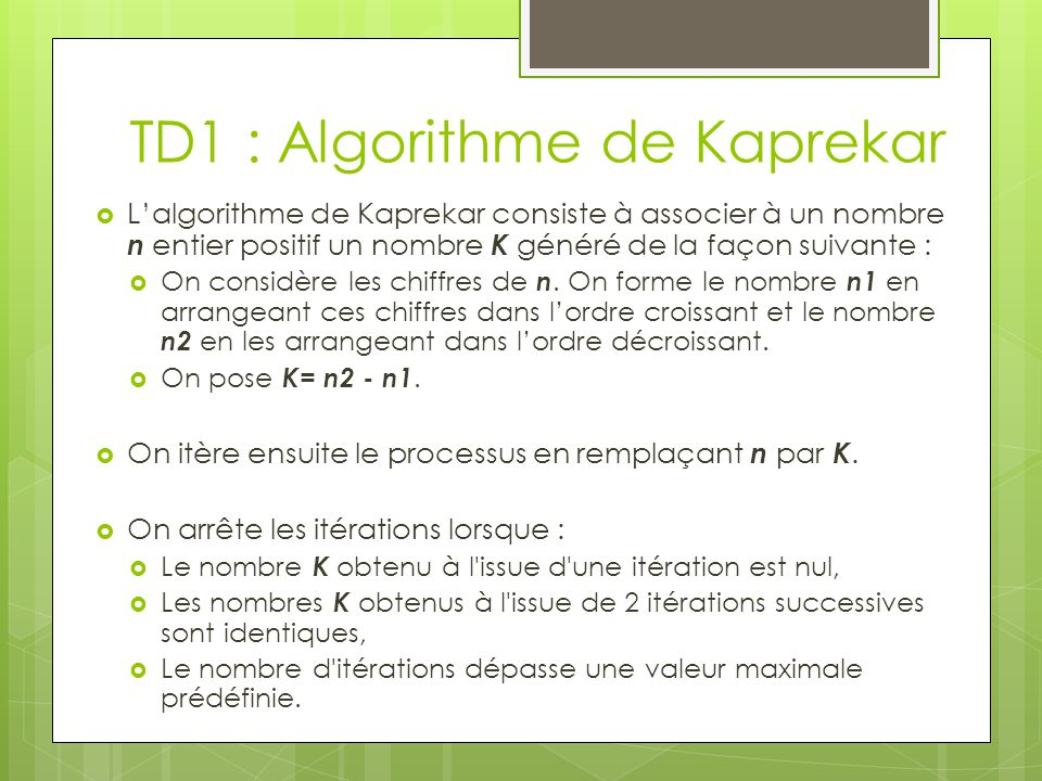 TD1 : Algorithme de Kaprekar