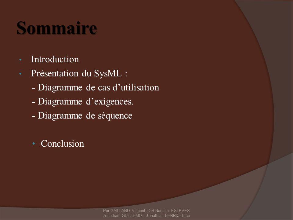 Sommaire Introduction Présentation du SysML :