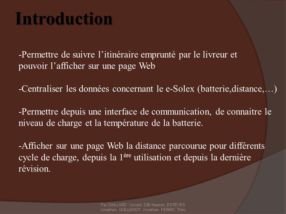 Introduction -Permettre de suivre l'itinéraire emprunté par le livreur et. pouvoir l'afficher sur une page Web.