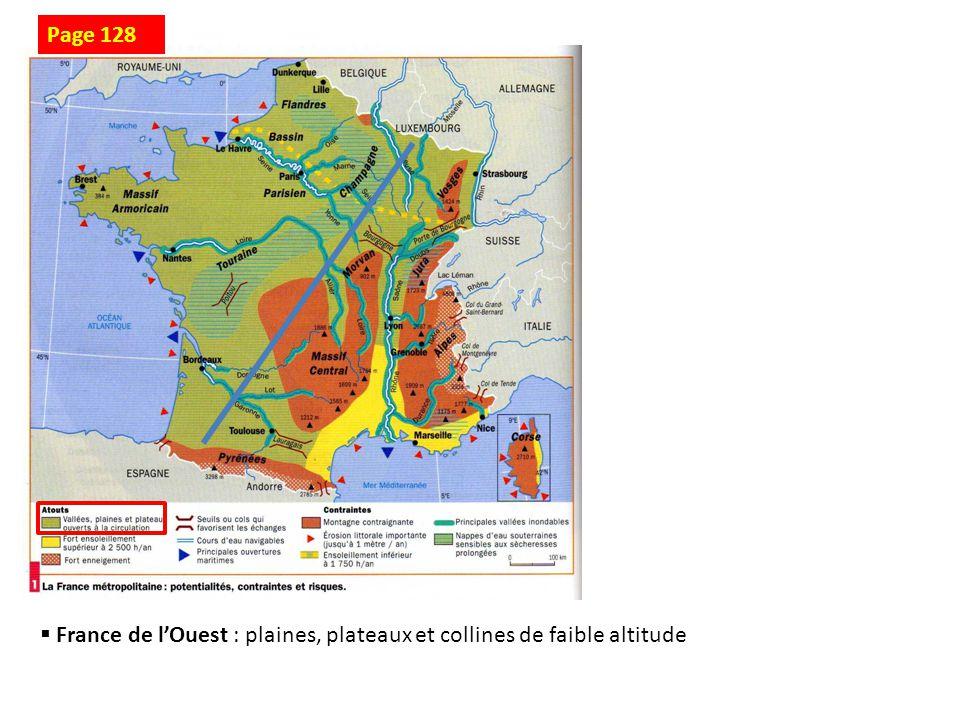 Page 128 France de l'Ouest : plaines, plateaux et collines de faible altitude