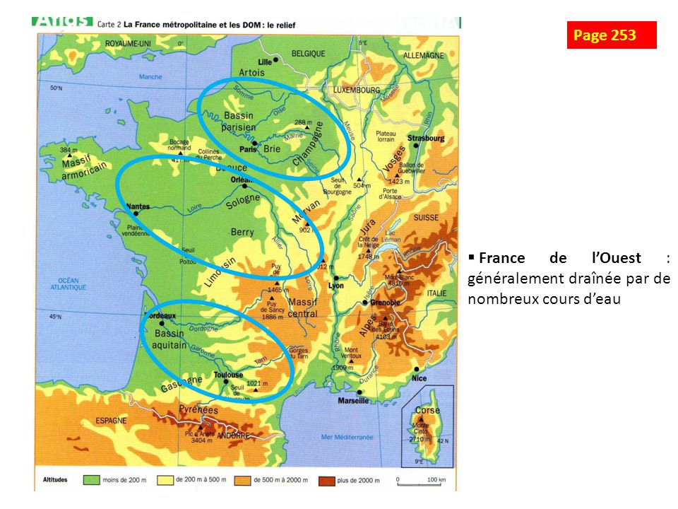 Page 253 France de l'Ouest : généralement draînée par de nombreux cours d'eau