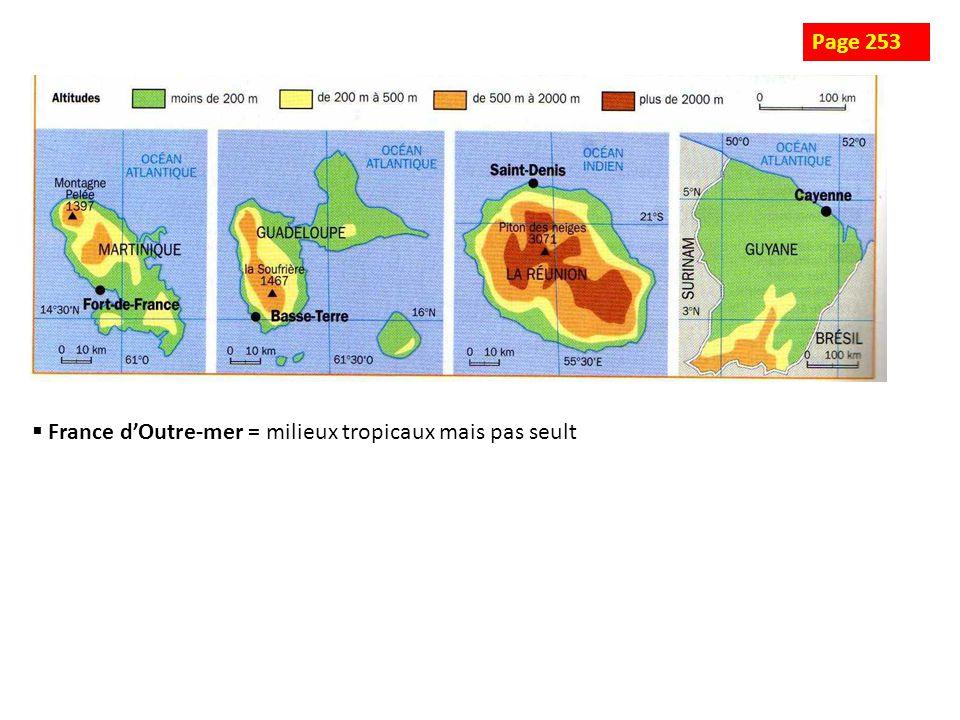 Page 253 France d'Outre-mer = milieux tropicaux mais pas seult