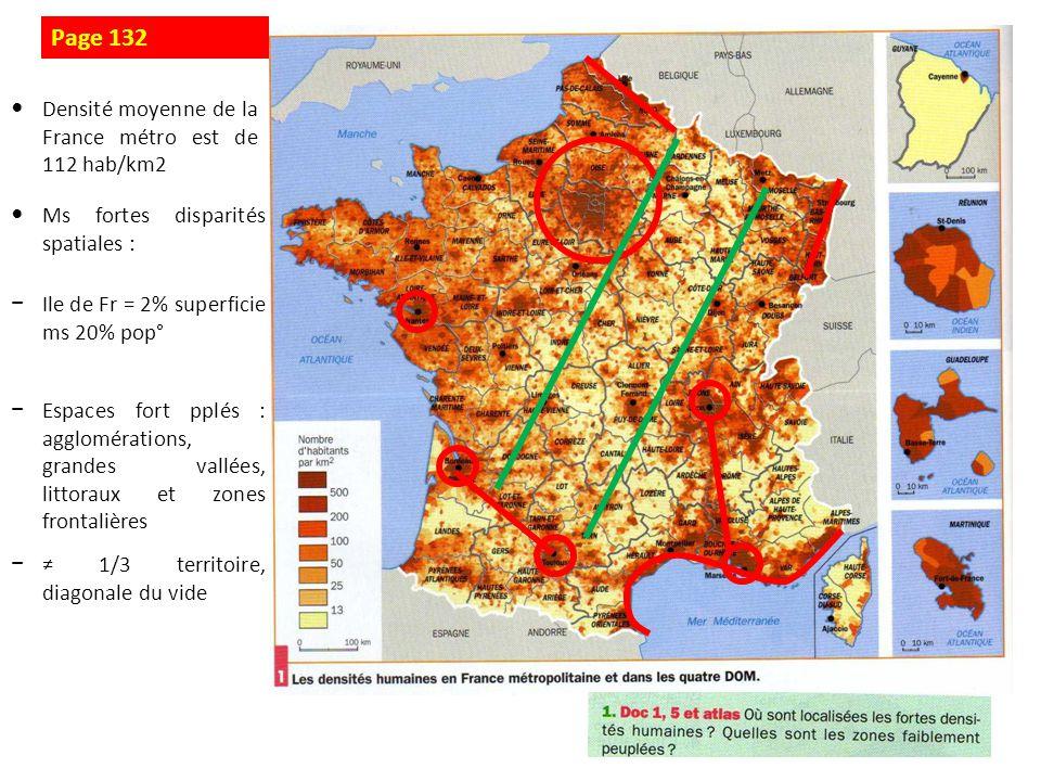 Page 132 Densité moyenne de la France métro est de 112 hab/km2