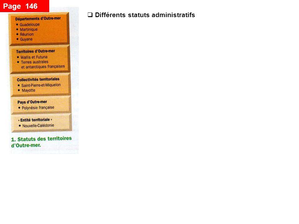 Page 146 Différents statuts administratifs