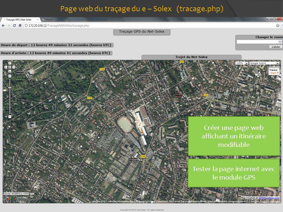 Page web du traçage du e – Solex (tracage.php)