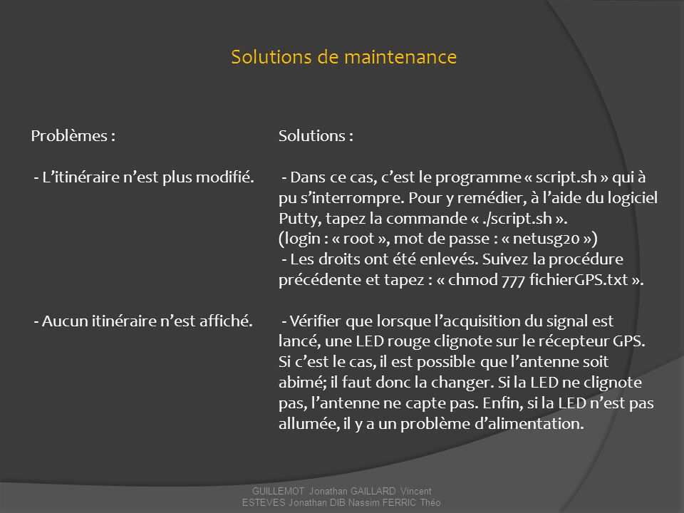 Solutions de maintenance