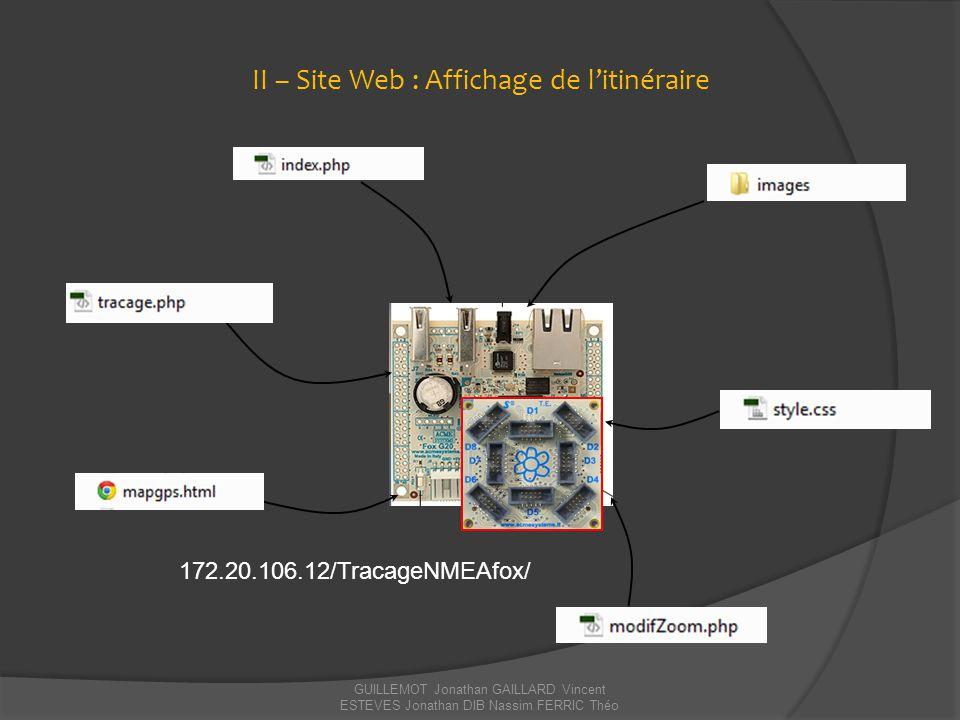 II – Site Web : Affichage de l'itinéraire