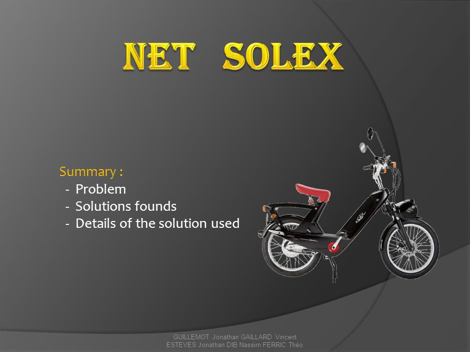 Net Solex Summary : - Problem - Solutions founds